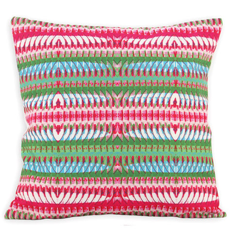 Luxurious cotton rich cushion with a bold contrasting colour retro style print. Plain white cotton on reverse with a cleverly concealed zip. 100% cotton.