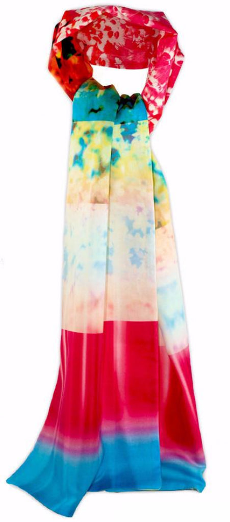 Luxury digitally printed scarf. cotton lined with chiffon, bold bright ombre print with an abstract floral pattern. Bohemian style. limited edition printed and made in the UK