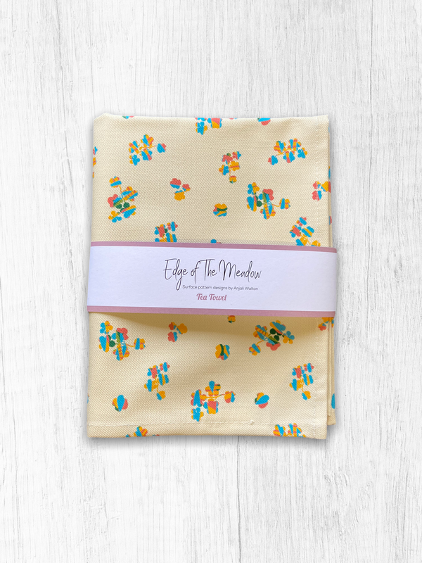 Edge of the Meadow Floral Cottage Tea Towel