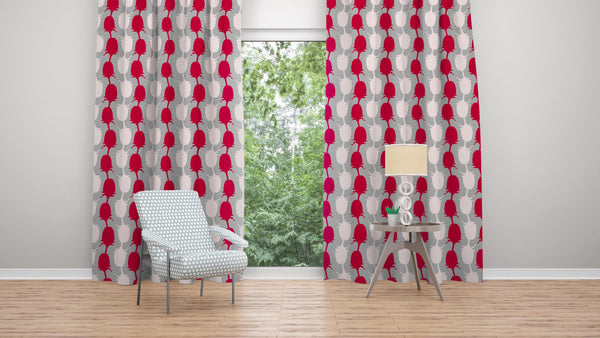 Geometric Red / Cloud Teasel Fabric by edge of the Meadow.