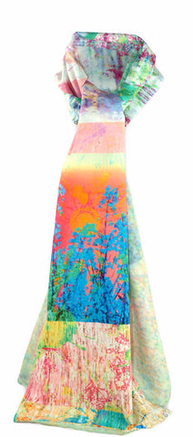 GIft idea Luxury digitally printed scarf. cotton lined with chiffon, bold bright ombre print with an abstract floral pattern. Bohemian style. limited edition printed and made in the UK