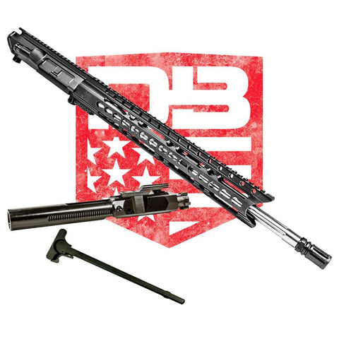 "Upper Assembly 18"" .308 Mid Length with 15"" Elite Rail, Black WITH AZIMUTH BCG & CH"