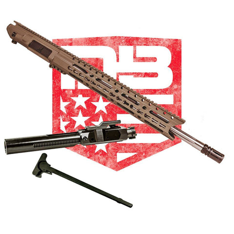 "Upper Assembly 18"" .308 Mid Length with 15"" Elite Rail, Flat Dark Earth WITH AZIMUTH BCG & CH"