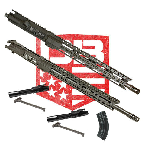 "BUNDLE Upper Assemblies 18"" 6.5 Grendel AND  16"" 300 BO - Each With 15"" Keymod Rail, Black (Includes 6.5 BCG and CH with 1 Grendel Mag and NiB BCG and CH)"