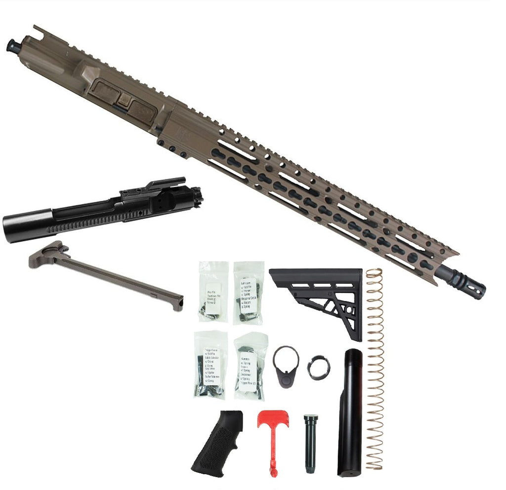 "BUNDLE: Upper Assembly 16"" .223/5.56 Elite with 15"" Keymod Rail, Flat Dark Earth WITH AZIMTUH BCG, CH & RIFLE LOWER BUILD KIT."
