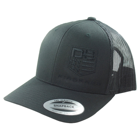Diamondback Firearms Retro Style Trucker Hat, Black with Black Logo