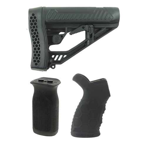 BUNDLE - DB15/DB10 ADAPTIVE TACTICAL RIFLE STOCK, DB15/DB10 HEXMAG SUREGRIP HX-HTG-BLK & DB15/DB10 MAGPUL VERTICAL FOREGRIP, BLACK