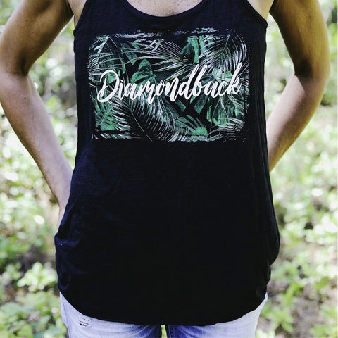 DB Ladies Tanktop Palm Tree Black Razorback