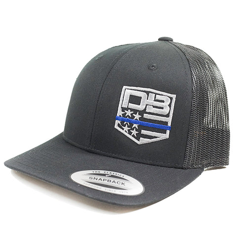 Diamondback Firearms Retro Style Trucker Hat, Black with Blue Line Logo