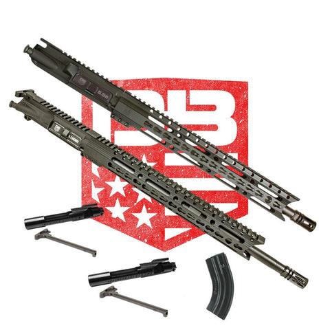 "BUNDLE Upper Assemblies 18"" 6.5 Grendel AND  16"" .223/5.56 - Each With 15"" Keymod Rail, Black (Includes 6.5 BCG and CH with 1 Grendel Mag and NiB BCG and CH)"