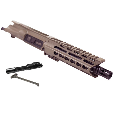 "BUNDLE Upper Assembly 7.5"" 5.56  with 6"" Keymod C Rail, Flat Dark Earth , with Azimuth BCG, CH, & Pistol lower build kit"