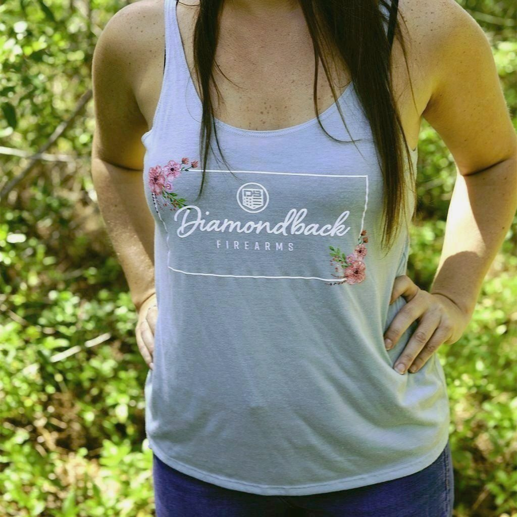 DB Ladies Heather Light Teal Rectangle Hibiscus Flowy Tank