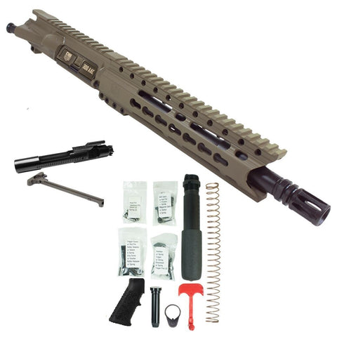 "BUNDLE: Upper Assembly 10.5"" 300 Blackout  with 9.5""  Rail, Flat Dark Earth w/ AZIMUTH BCG, CH & LOWER BUILD KIT"