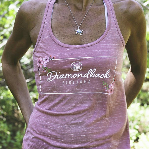 DB Ladies Mauve Marble Rectangle Hibiscus Razorback Tank