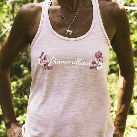 DB Ladies Peach Hibiscus Razorback Tank
