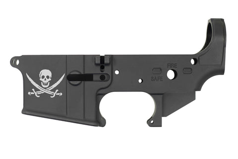 DB15 223/556/300 Blackout Limited Edition Lasered CALICO JACK PIRATE LOGO Stripped Rifle Lower,  Black, No Magazine.......MUST PROVIDE A VALID FFL