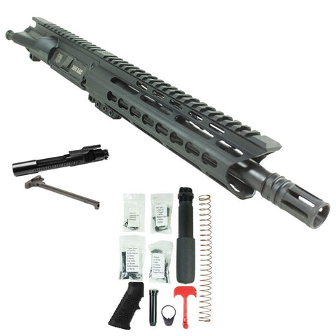 "BUNDLE: Upper Assembly 10.5"" 300 Blackout  with 9.5"" C Rail, BLACK-w/ AZIMUTH BCG, CH & LOWER BUILD KIT"