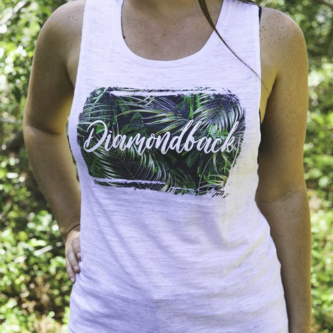 DB Ladies Palm Tree White Muscle Tank