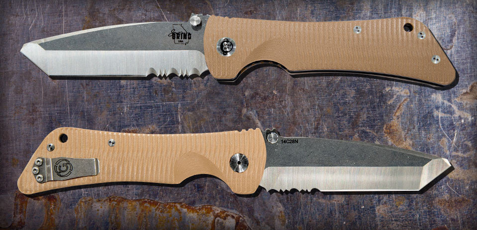 Zac Brown's Southern Grind Bad Monkey Tanto Satin Serrated w/ Desert Tan Handle