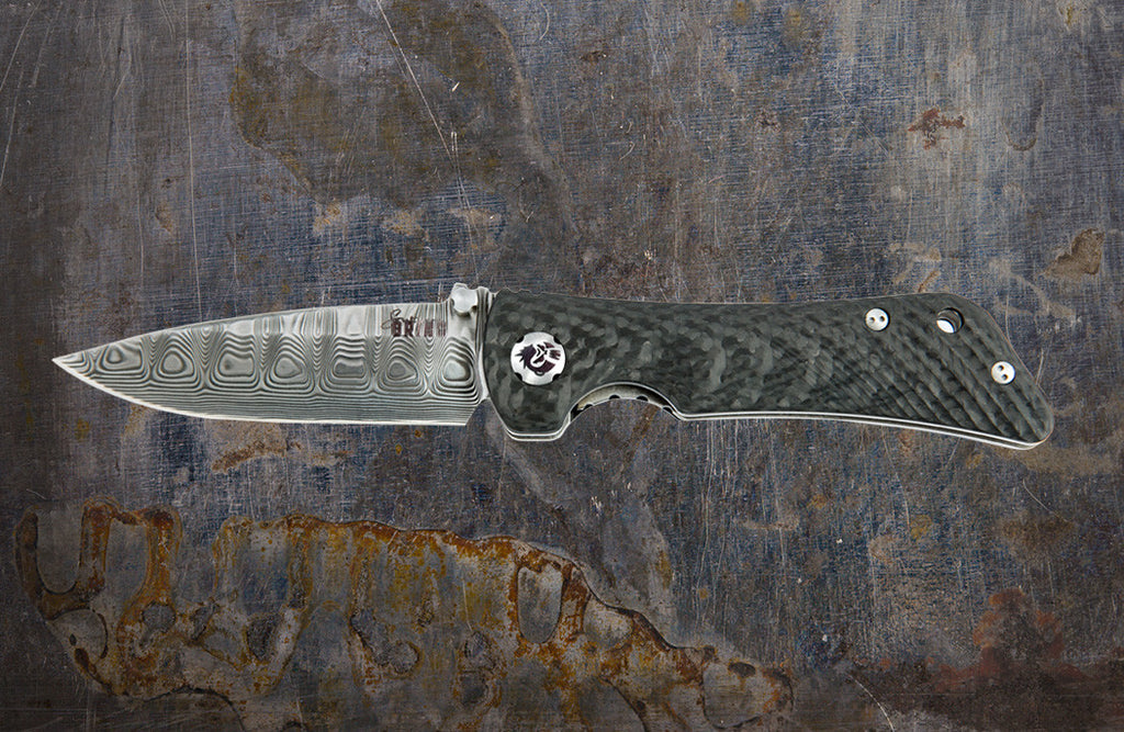 Zac Brown's Southern Grind Spider Monkey Drop Point Damascus w/ Carbon Fiber Handle