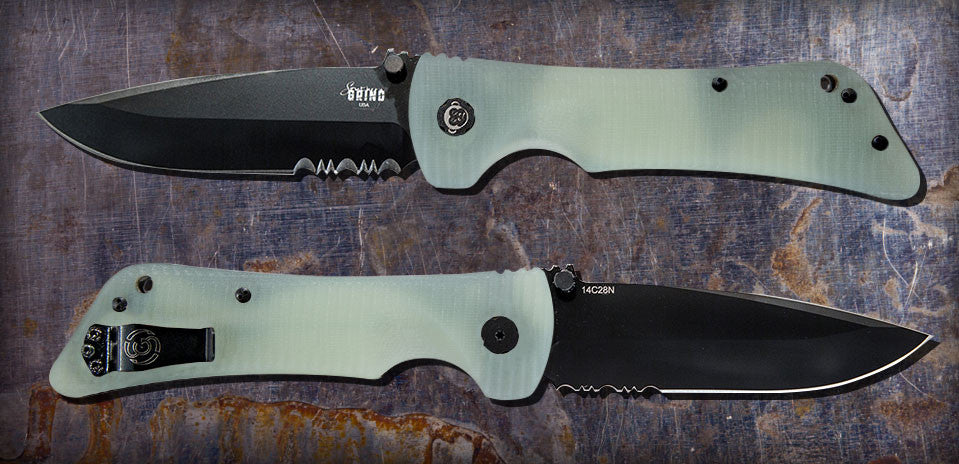 Zac Brown's Southern Grind Bad Monkey Drop Point Satin Black Serrated w/ Jade Ghost Green Handle