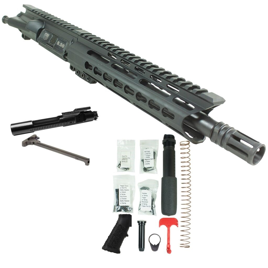 "BUNDLE Upper Assembly 10.5"" 5.56  with 9.5"" Keymod Rail, Black with Azimuth BCG, CH, & Pistol Lower Build Kit"