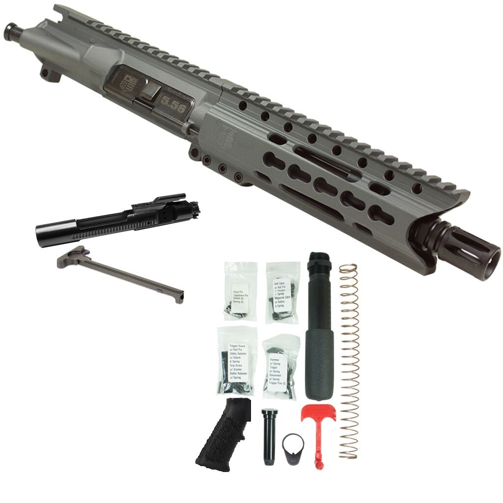 "BUNDLE Upper Assembly 7.5"" 5.56  with 6"" Keymod C Rail, Tactical Gray, with Azimuth BCG, CH, & Pistol lower build kit"