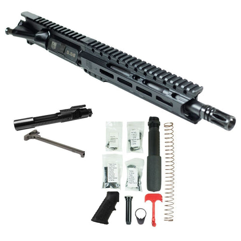 "BUNDLE Upper Assembly 10.5"" 5.56  with 9.5"" M-LOK Rail, Black with Azimuth BCG, CH, & Pistol Lower Build Kit"