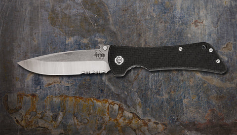 Zac Brown's Southern Grind Bad Monkey Emerson Drop Point Satin Serrated w/ Carbon Fiber Handle