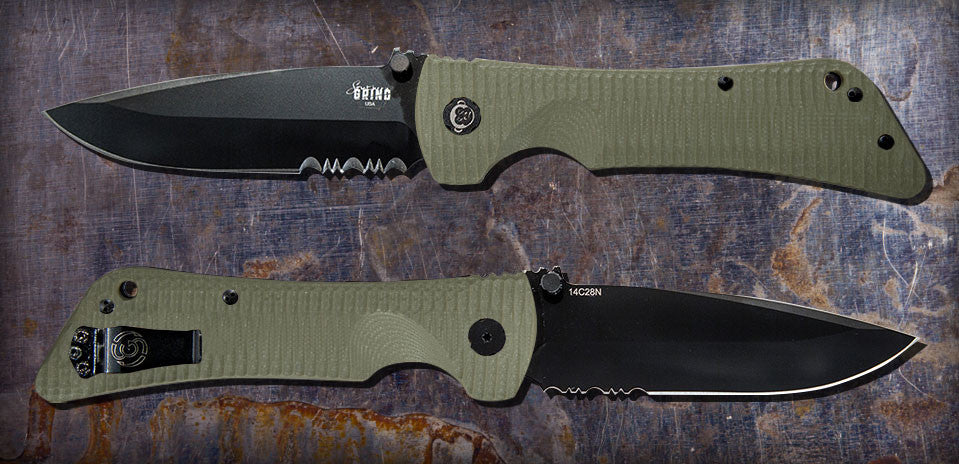 Zac Brown's Southern Grind Bad Monkey Drop Point Black Serrated w/ OD Green Handle