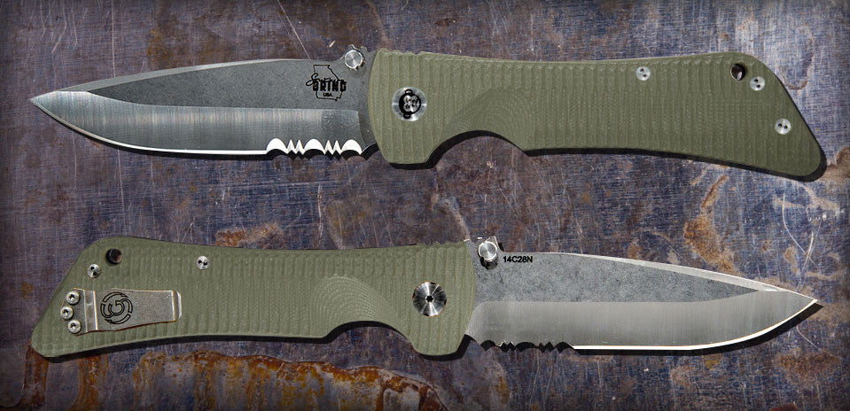 Zac Brown's Southern Grind Bad Monkey Drop Point Satin Serrated w/ OD Green Handle