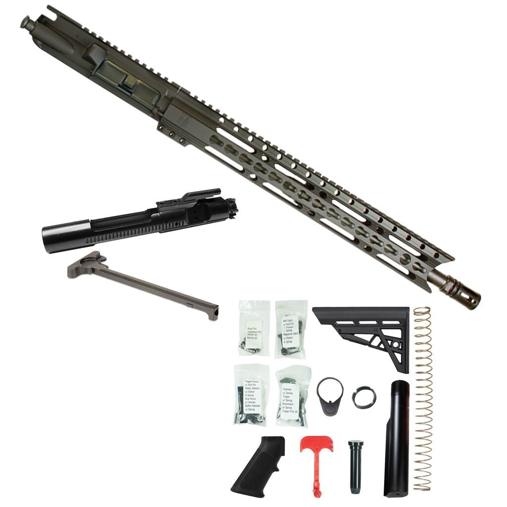 "BUNDLE: Upper Assembly 16"" .223/5.56 Elite with 15"" Keymod Rail, Black WITH AZIMTUH BCG, CH & RIFLE LOWER BUILD KIT."