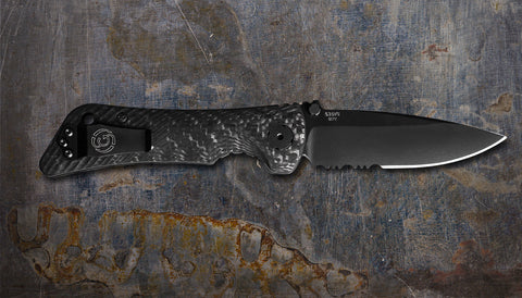 Zac Brown's Southern Grind Spider Monkey Drop Point Black Serrated w/ Carbon Fiber Handle