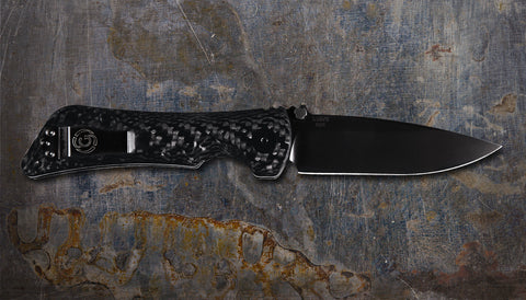 Zac Brown's Southern Grind Spider Monkey Drop Point Black w/ Carbon Fiber Handle