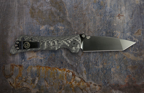 Zac Brown's Southern Grind Spider Monkey Tanto Black w/ Carbon Fiber Handle
