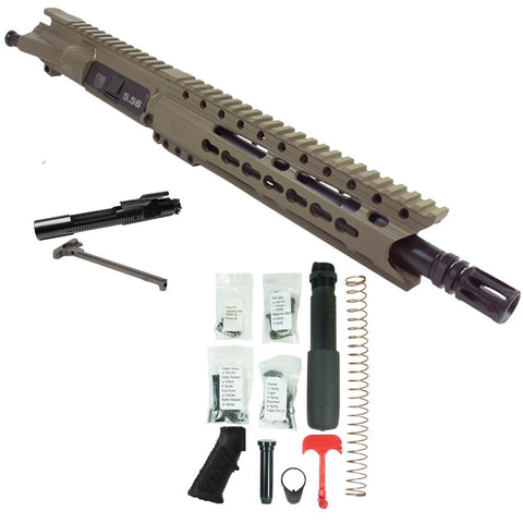 "BUNDLE Upper Assembly 10.5"" 5.56  with 9.5"" C Rail, Flat Dark Earth with Azimuth BCG, CH, & Pistol Lower Build Kit"