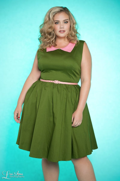 Junebugs Dress in Olive with Pink Trim - Plus Size
