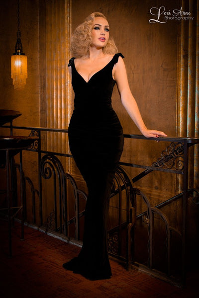 The Laura Byrnes Gilda Gown in Black Velvet