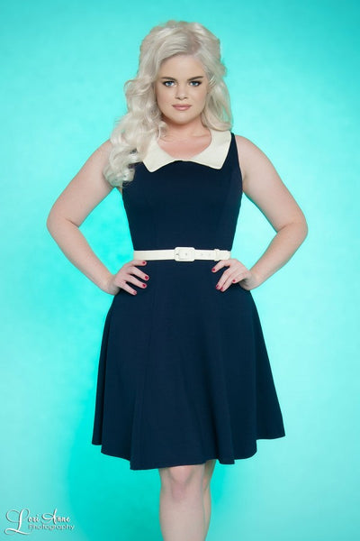 Georgia Peaches Dress in Navy