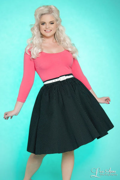 Pinup Couture Allison Dress in Black Pin Dots with Hot Pink