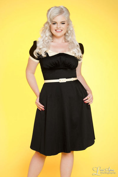 Dorothy Dress in Black with Cream Trim