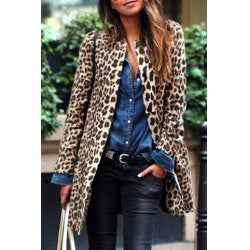 Chic Women's Jewel Neck Leopard Long Sleeve Coat
