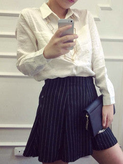2014 Autumn New Collection Women Suits Pure Color Shirts Casual Short Striped Skirt White Two Pieces Dress S M