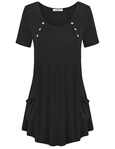 Jazzco Women's Comfy Shirts With Pockets Swing Tunic Top