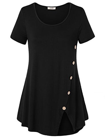 Vivilli Women's Short Sleeve Split Hemline Casual T-Shirt Blouse Tops with Buttons