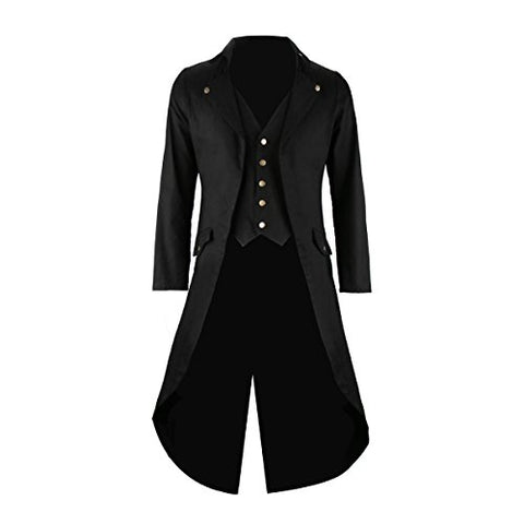 Mens Black Tailcoat Jacket Gothic Steampunk Victorian VTG Halloween Costume Long Coat