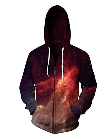 Sankill Unisex 3D Galaxy Zipper Hoodie Sweatshirt Fleece Pullover Hooded Shirts Pocket
