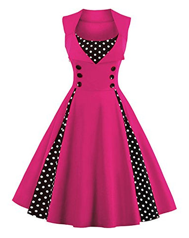 Killreal Women's Polka Dot Retro Vintage Style Cocktail Party Swing Dress