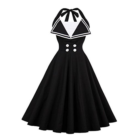 Wellwits Women's Vintage Halter Halloween Costume Sailor Dress