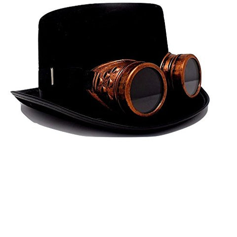 Steampunk Top Hat-Black Felt Top Hat, Costume Dress Up Party Hat for Halloween and Cosplay for Adults and Big Kids